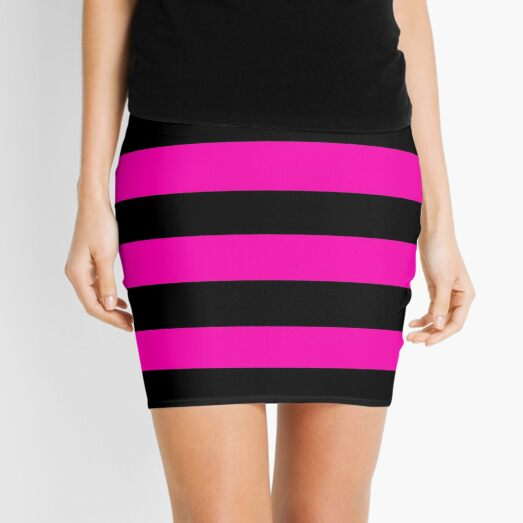 Bright Hot Neon Pink and Black Cabana Tent Stripes Mini Skirt