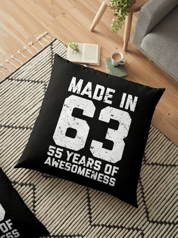 55th Birthday Gift Adult Age 55 Year Old Men Women Floor Pillows By