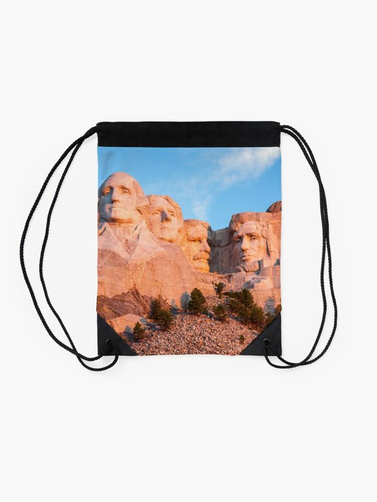 Alternate view of Mount Rushmore National Memorial - Black Hills, South Dakota Drawstring Bag