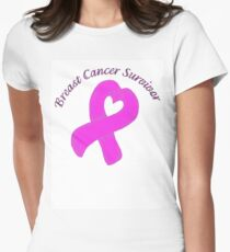 Breast Cancer Heart Survivor Womens Fitted T-Shirt