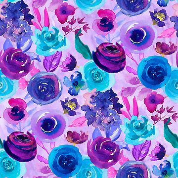 Purple and blue watercolor floral pattern by jmac111