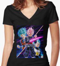 Goku Black VS Saiyans Women's Fitted V-Neck T-Shirt