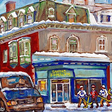WINTER STREETS MONTREAL ART CANADIAN HOCKEY SCENES C SPANDAU QUEBEC CORNER STORE MCGILL GHETTO by CaroleSpandau