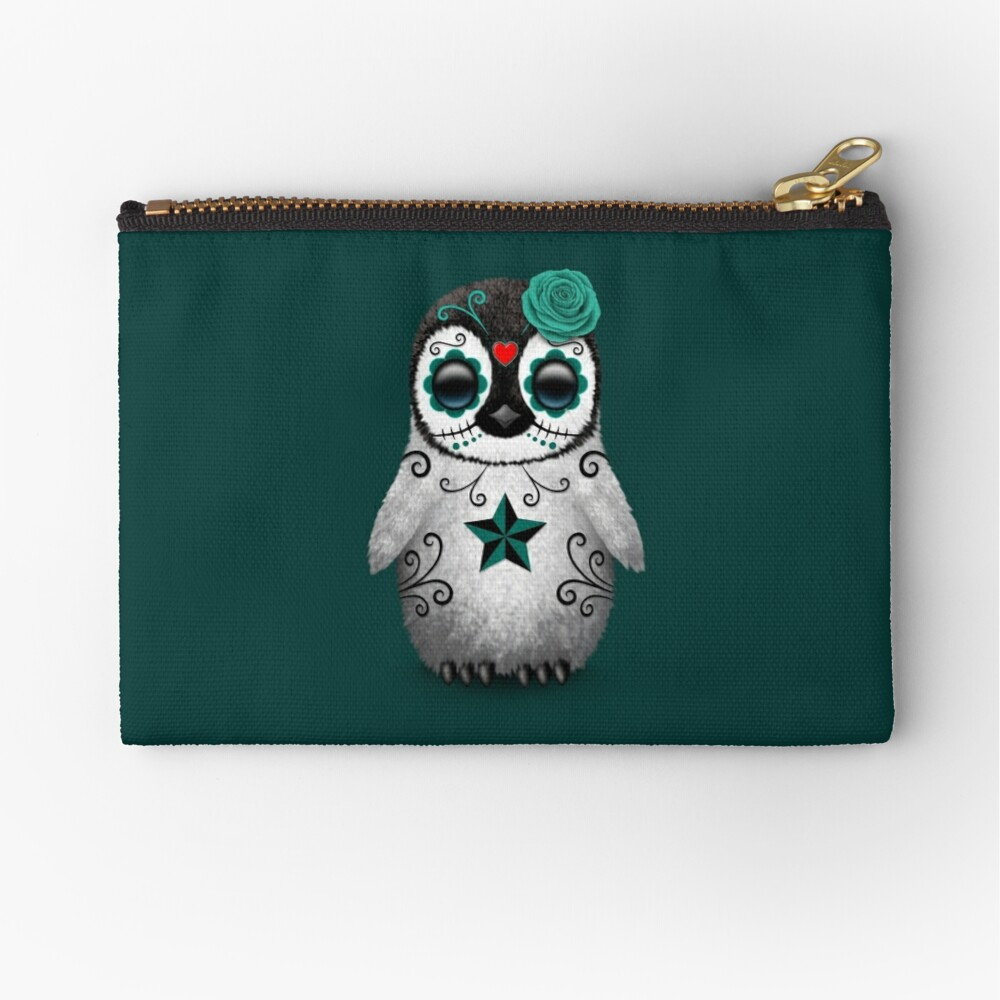 Teal Blue Day of the Dead Sugar Skull Penguin  Zipper Pouch