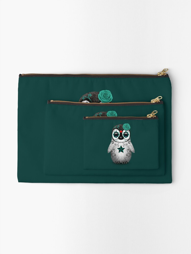Alternate view of Teal Blue Day of the Dead Sugar Skull Penguin  Zipper Pouch