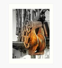 Rusted Pulleys Art Print