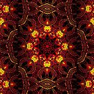 """On the Edge of Mania"" (Red Tones) - Geometric Abstract Mandala   by Leah McNeir"