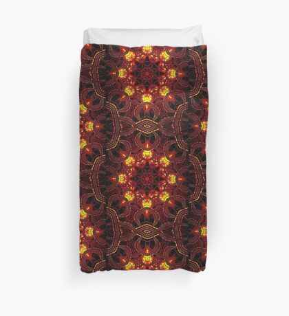 """""""On the Edge of Mania"""" (Red Tones) - Geometric Abstract Mandala   Duvet Cover"""