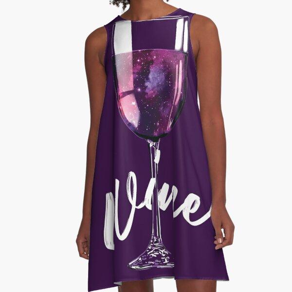 Wine Lover Galaxy Space Design A-Line Dress