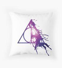 Galaxy Hallows - half paint drops (pink galaxy) - wand, cloak, stone Throw Pillow