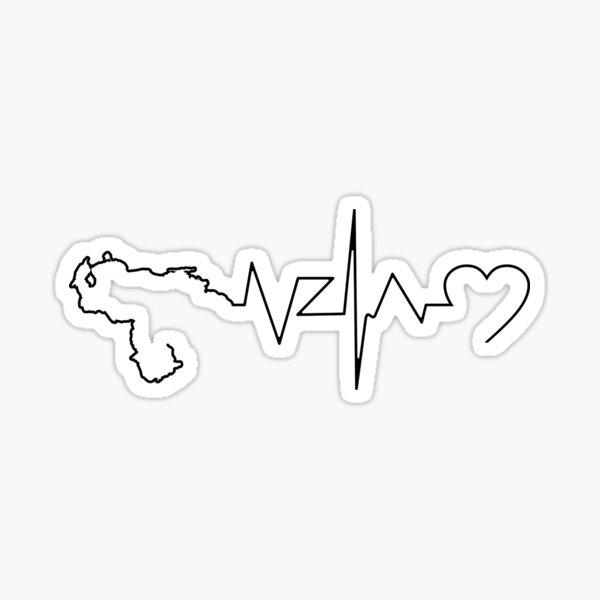 VENEZUELA MAP 7 STARS HEART LIFE LINE Pegatina
