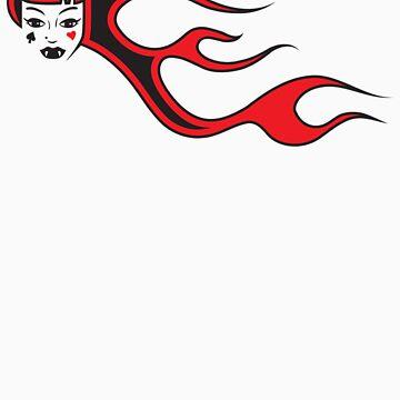 Flaming Hair Vampire Girl by trickmonkey