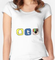 tumblr instagram snapchat apps Women's Fitted Scoop T-Shirt