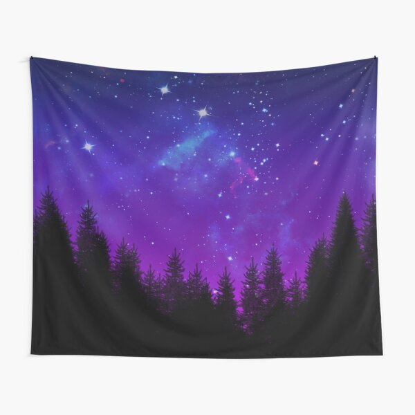 Galaxy Over the Forest at Night Tapestry