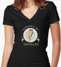 Powered by Tamales Women's Fitted V-Neck T-Shirt