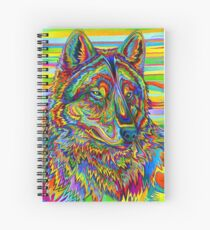 Colorful Psychedelic Rainbow Wolf Spiral Notebook