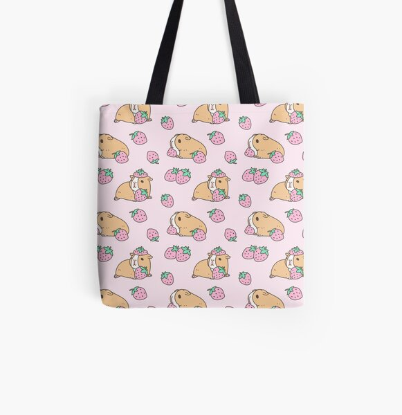 Pink Guinea Pig and Strawberry Pattern  All Over Print Tote Bag