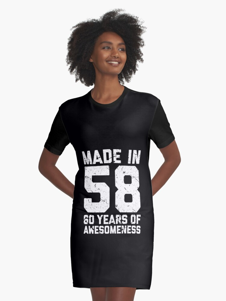 60th Birthday Gift Adult Age 60 Year Old Men Women Graphic T Shirt Dress Front