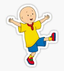 Caillou balancing on one foot.  Sticker