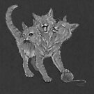 The Mighty... Purrberus (Greyscale) by KLeCrone