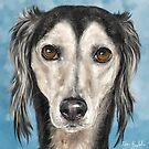 Painting of a Saluki Dog on Blue Background by ibadishi