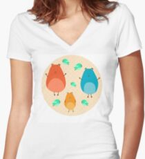 Cartoon funny hamsters Women's Fitted V-Neck T-Shirt