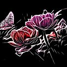 Butterfly Flowers - Glow Art by HelmarDesigns