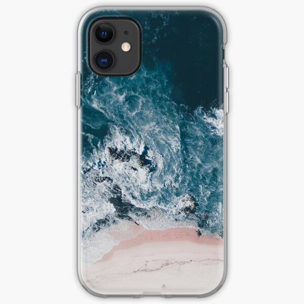 I love the sea - written on the sand iPhone Soft Case