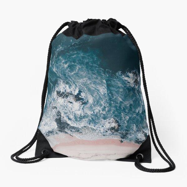I Love the Sea - written on the sand Drawstring Bag