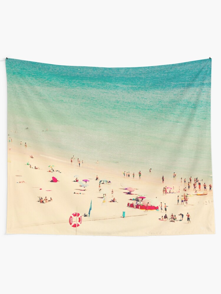 Alternate view of beach people Tapestry