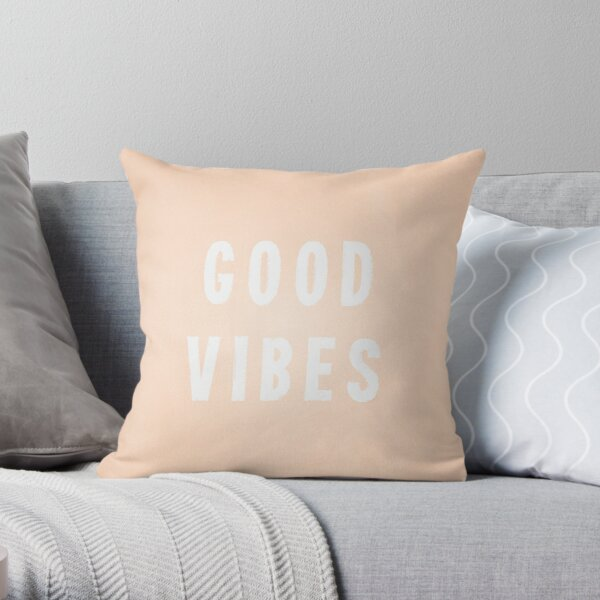 Peach/Apricot and White Distressed-Effect Good Vibes Throw Pillow