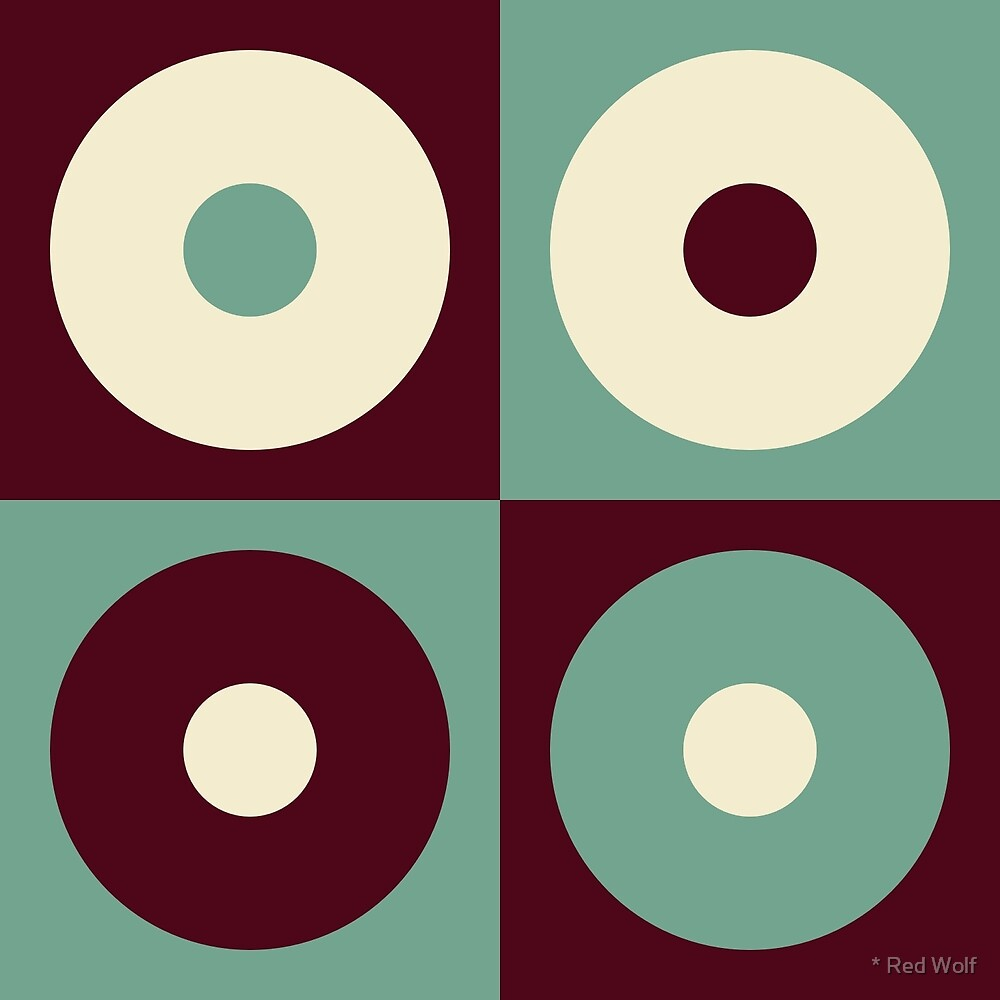Geometric Pattern: Alternating Circles: Brown/Green by * Red Wolf