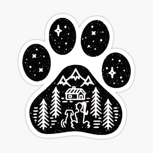 Dog paw camping best gift for puppies lover Sticker