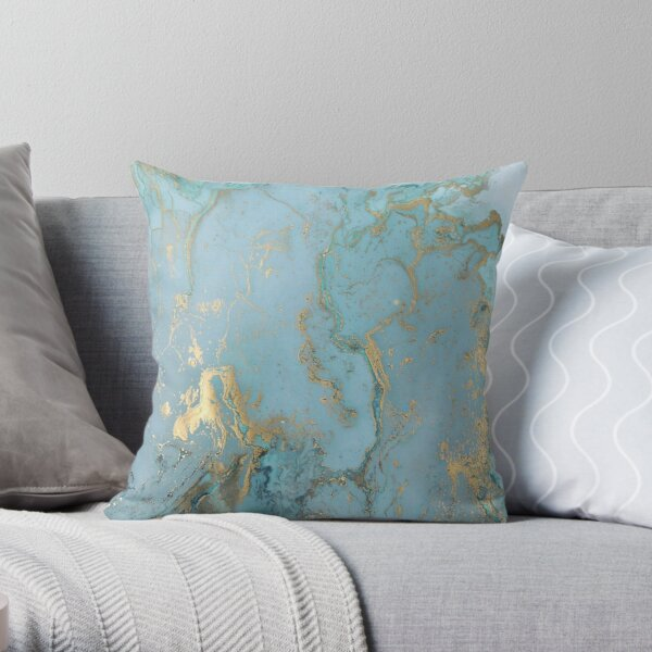 Marble Design - Gold Effect - Turquoise Blue, Teal Marbling Throw Pillow