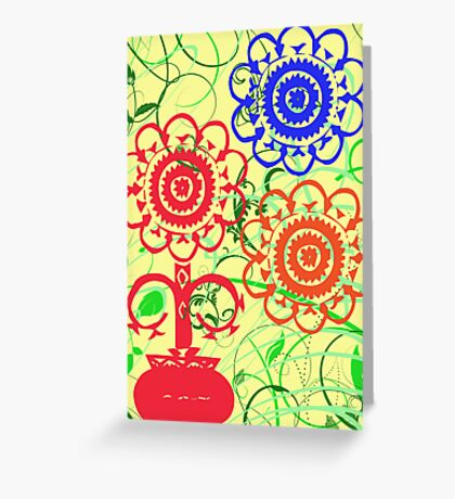 Retro Flowers with Swirls Greeting Card