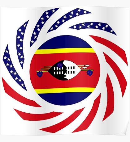Swazi American Multinational Patriot Flag Series Poster