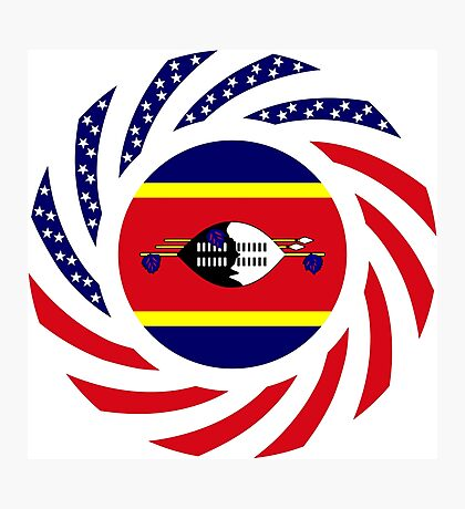 Swazi American Multinational Patriot Flag Series Photographic Print