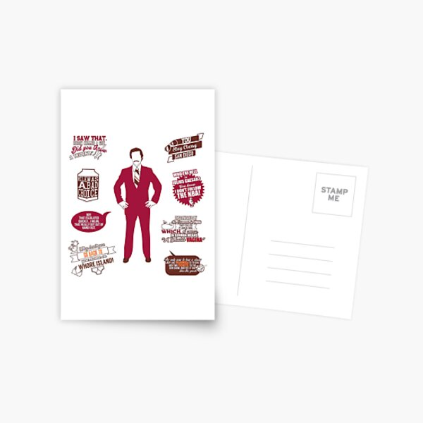 Anchorman Quotes - Funny T-Shirt - Movies - Films - Ron Burgundy Postcard