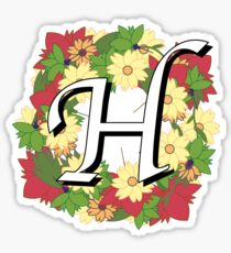 The Letter H - Wreath of Flowers Sticker