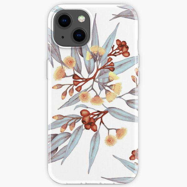 Gumnuts and Eucalyptus in Rust, Grey and Golden iPhone Soft Case