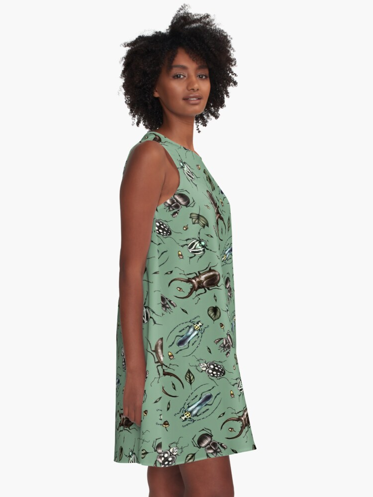 Alternate view of Colored beetle pattern - Insect collection A-Line Dress