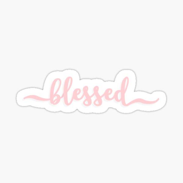 BLESSED cursive script design in light pink Sticker