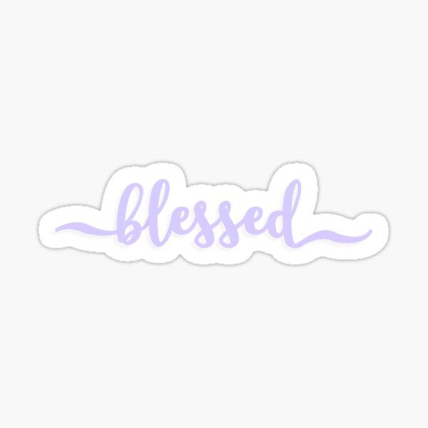 BLESSED cursive script design in lavender / purple Sticker