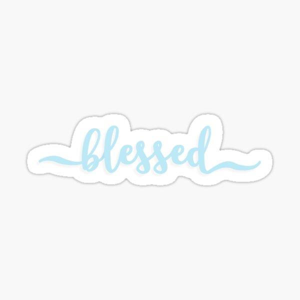 BLESSED cursive script design in sky blue Sticker