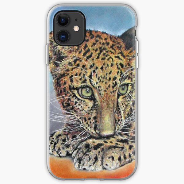 Pastel Chalk Art Leopard Cub Green Eyes iPhone Soft Case