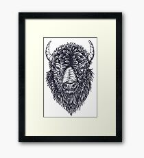 Buffalo- Pointillism Framed Print