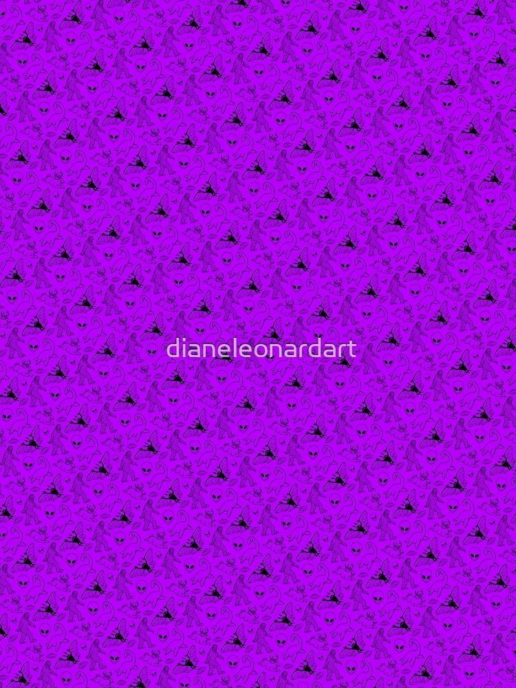Cryptid Pattern (Purple Background) by dianeleonardart