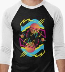 80s Neon Classic (Dark-Black) Men's Baseball ¾ T-Shirt