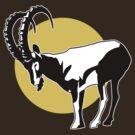 Nubian Ibex in the Sun Graphic Design by BRMntga