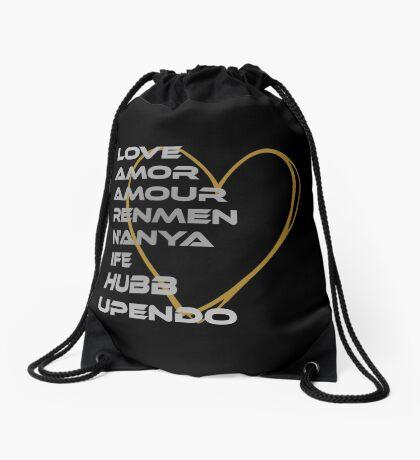LOVE in Every Language Drawstring Bag